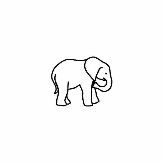 40 outline elephant tattoos