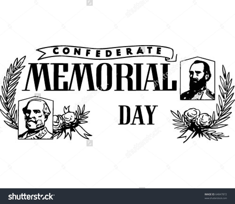Confederate Memorial Day Black And White Retro Clipart