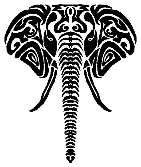 Line Drawing Elephant Face : Tribal elephant stencil