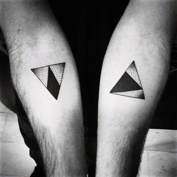 Cool Dotwork Triangle Tattoo On Both Forearm