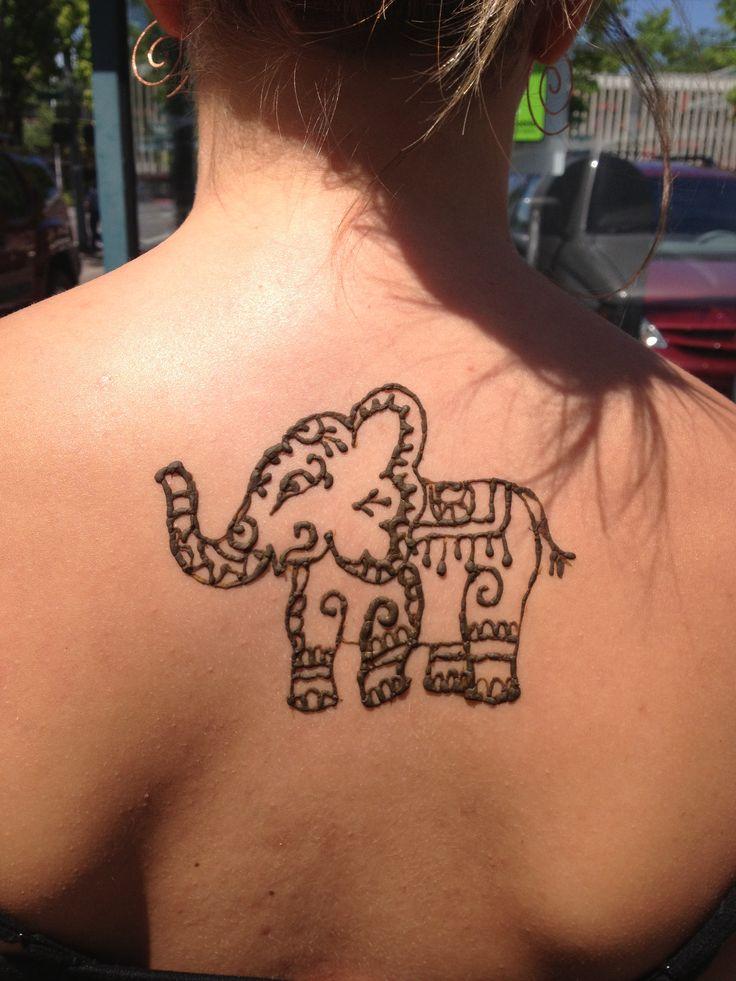 18e618765 Cool Henna Elephant Tattoo On Girl Upper Back