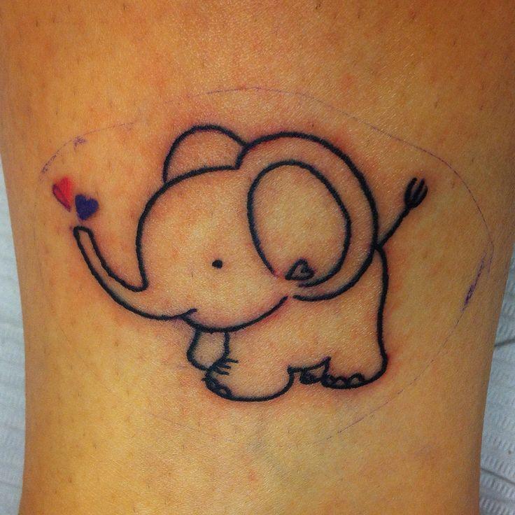 aba1ba0ec55d9 Cute Asian Baby Elephant With Hearts Tattoo Design