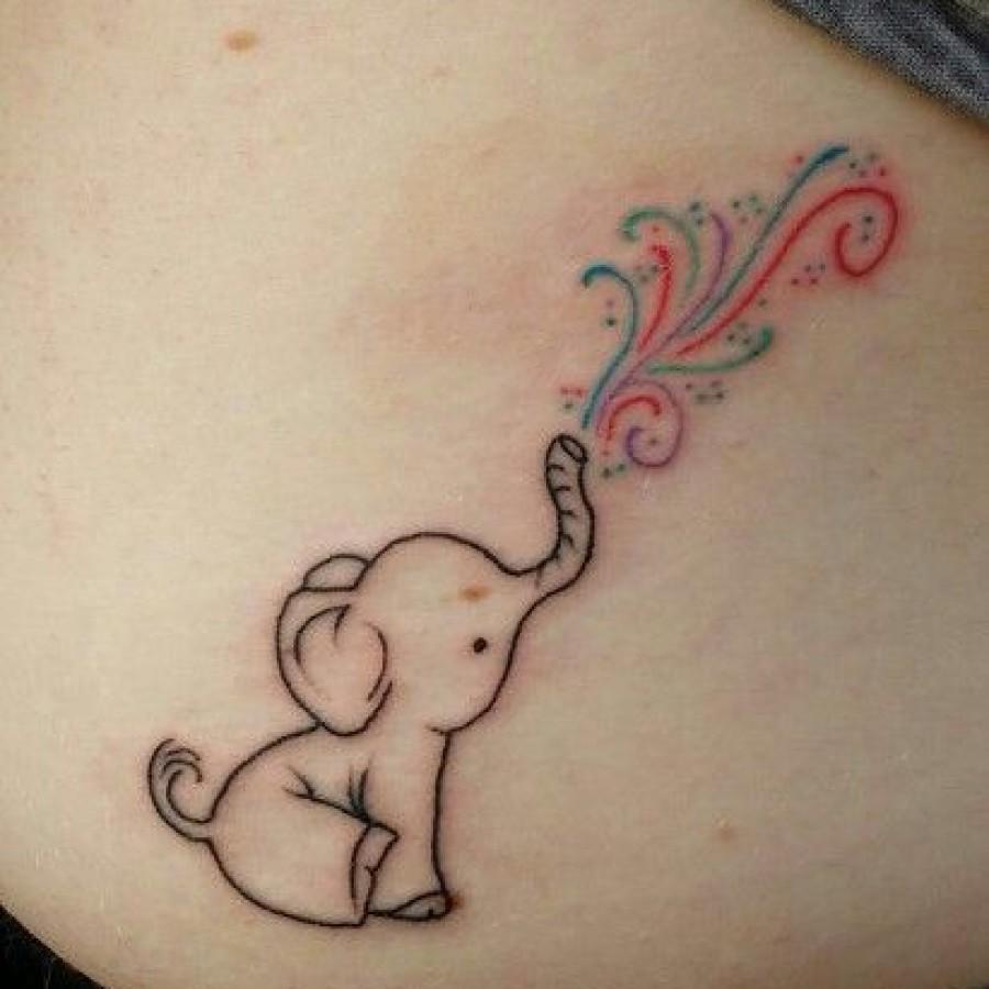 da340ab3bf00e Cute Baby Elephant Trunk Up Tattoo Design