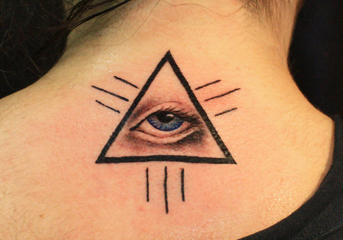 Eye In Triangle Tattoo On Upper Back