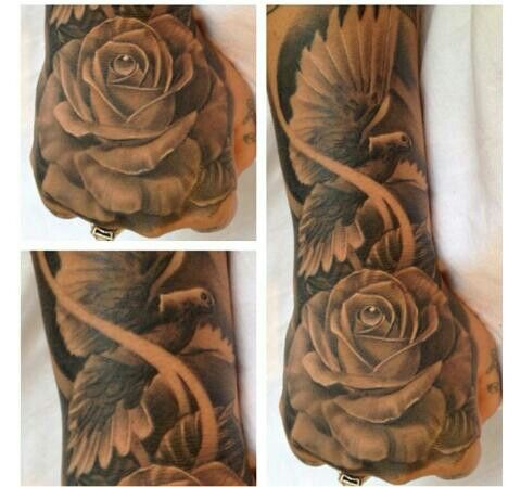 35 dove tattoos with roses. Black Bedroom Furniture Sets. Home Design Ideas
