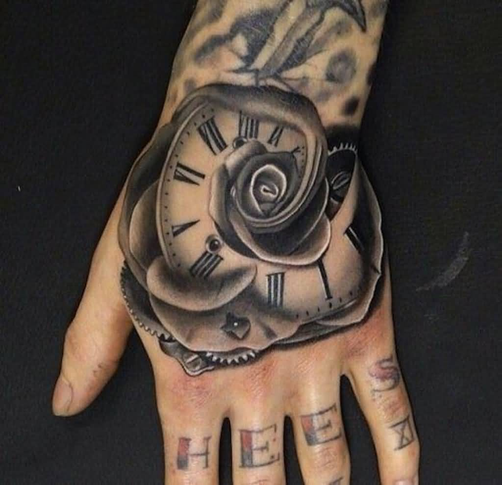 Clock And Roses Tattoo: Grey Rose Flower Clock Tattoo On Left Hand