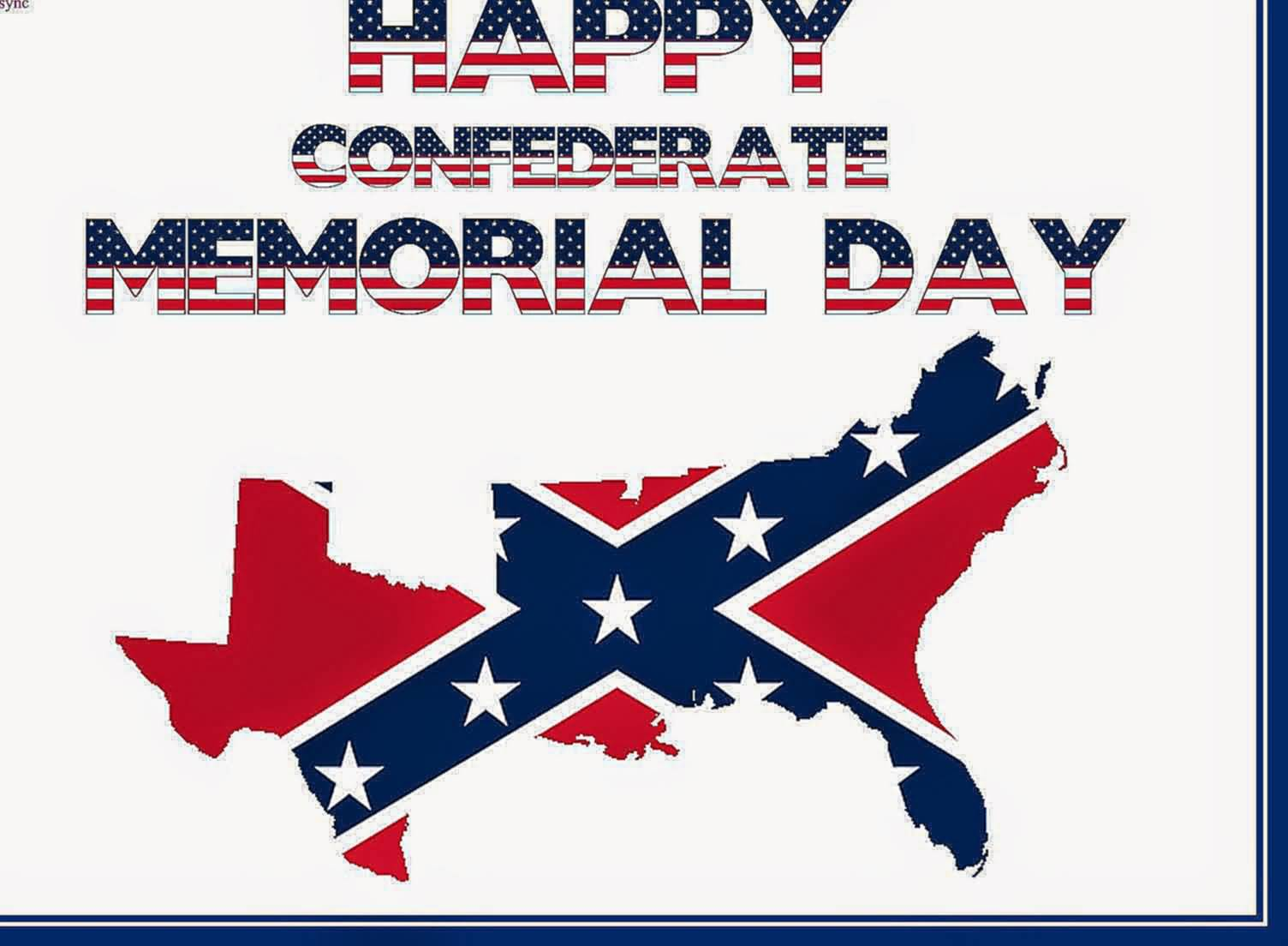 Happy Confederate Memorial Day American Flag Text And Map Picture - Us flag on the map