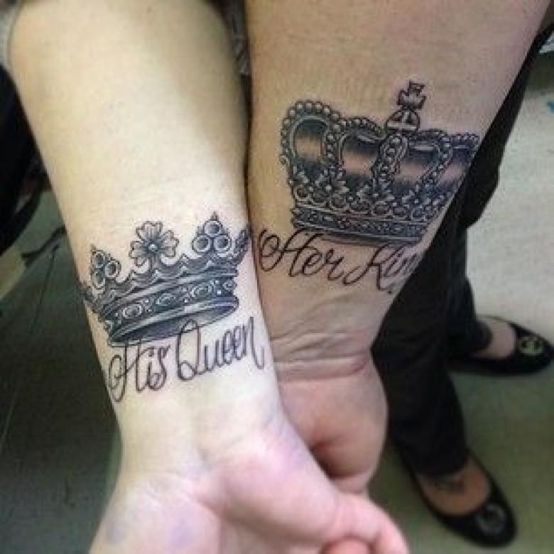 45 Cute king and queen tattoo for couples - Buzz 2018 |King And Queen Crown Tattoo Designs