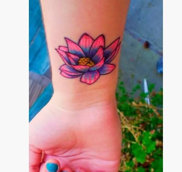 Lotus flower wrist tattoo idea for girls mightylinksfo