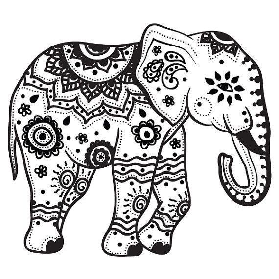 Mandala Indian Elephant Tattoo Stencil