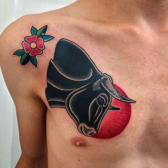 9f84e8978 Nice Black Bull Traditional Tattoo On Chest For Men