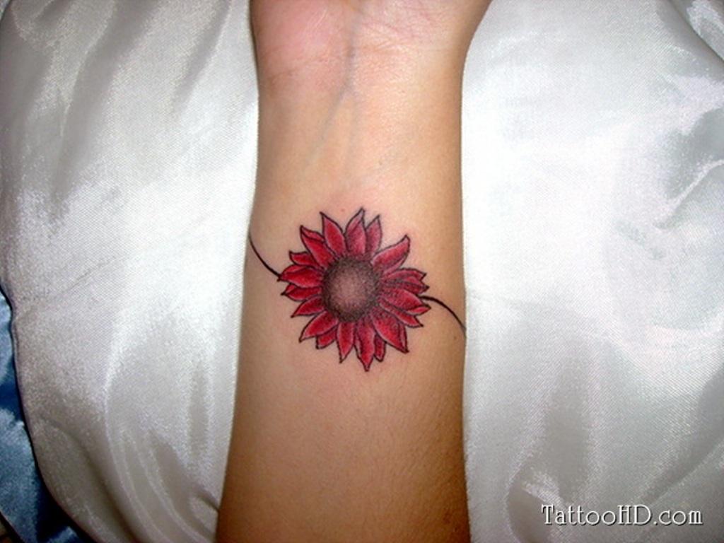 Red Flower Tattoos: 60+ Flowers Wrist Tattoos Ideas
