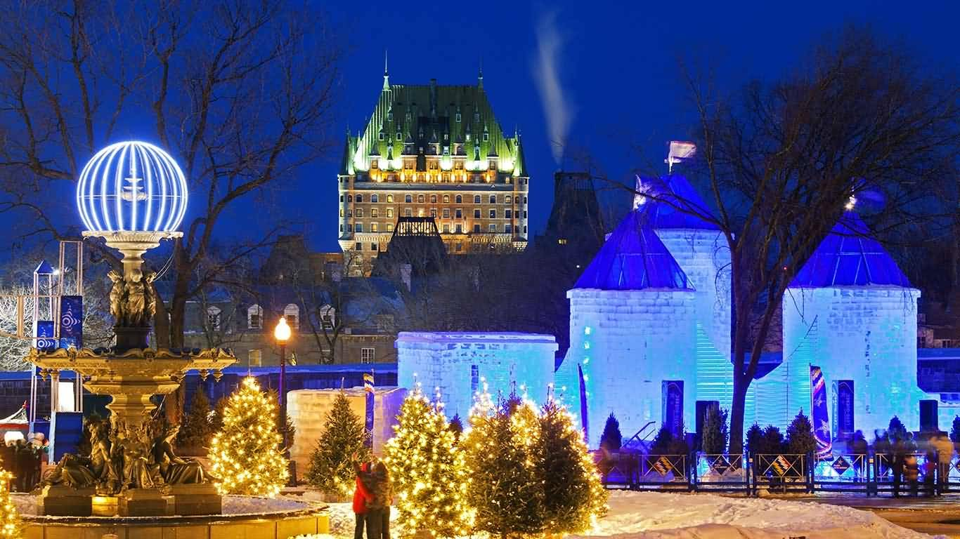 Night decoration during quebec winter carnival for Decoration quebec