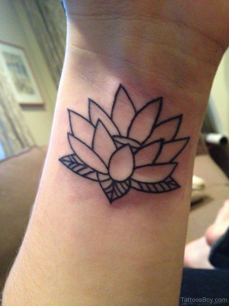 Outline lotus flower tattoo on left wrist izmirmasajfo