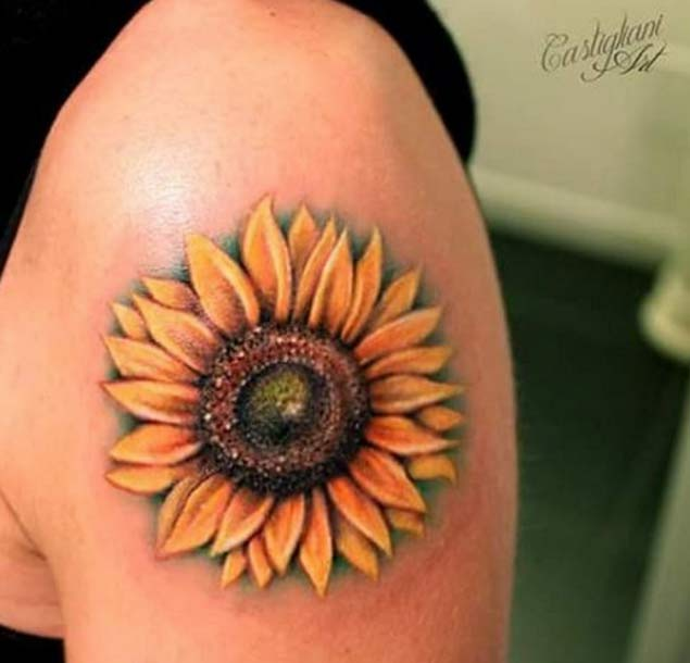 30 realistic sunflower tattoos for girls for Realistic sun tattoo