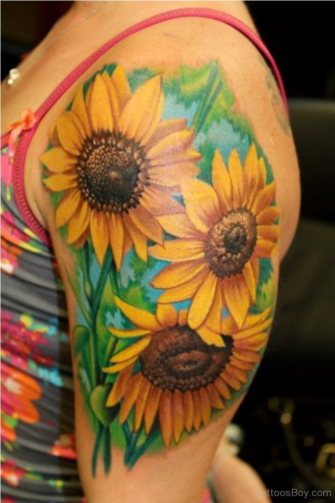 525e821db2cd7 Realistic Sunflowers Tattoos On Left Half Sleeve