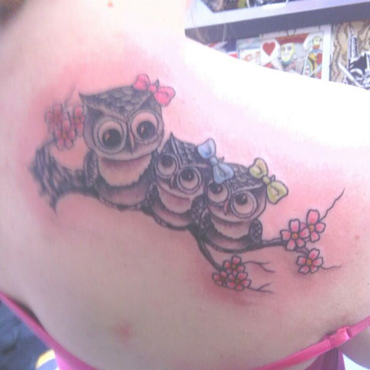 27eb48550 Red Flowers And Baby Owl Tattoos On Right Back Shoulder
