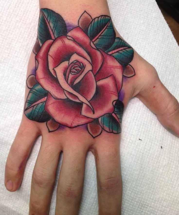 47 Rose Hand Tattoos For Women