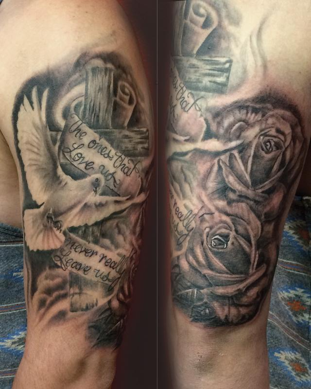 Dove Tattoos Half Sleeve Dove Tattoos With Rose...