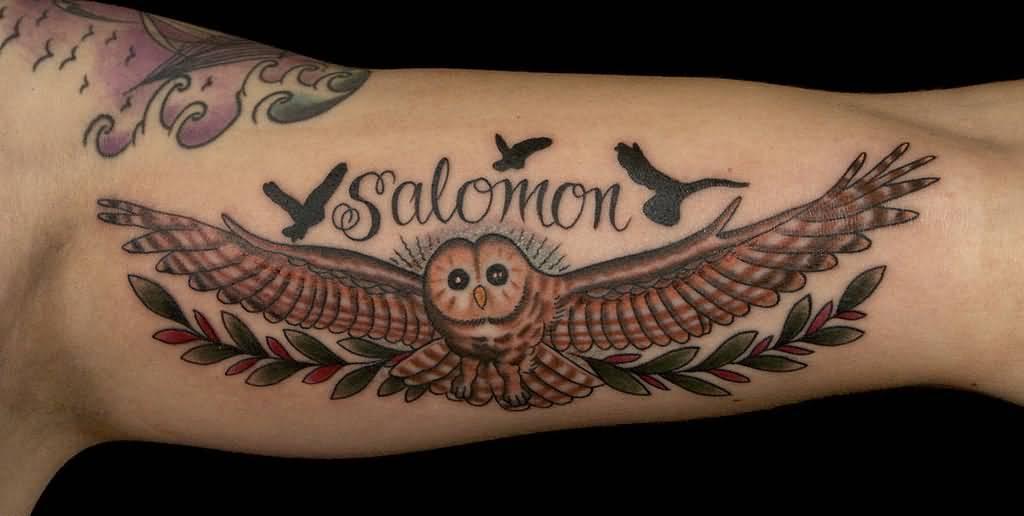 26 Simple Flying Owl Tattoos