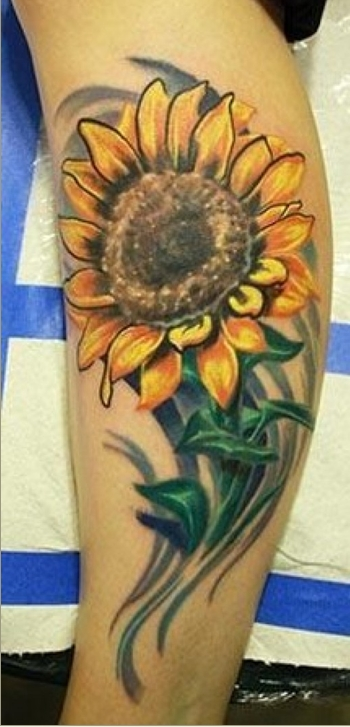 25 beautiful realistic sunflower tattoos for Sunflower hip tattoo