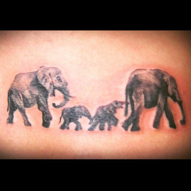 47 elephant family tattoos. Black Bedroom Furniture Sets. Home Design Ideas