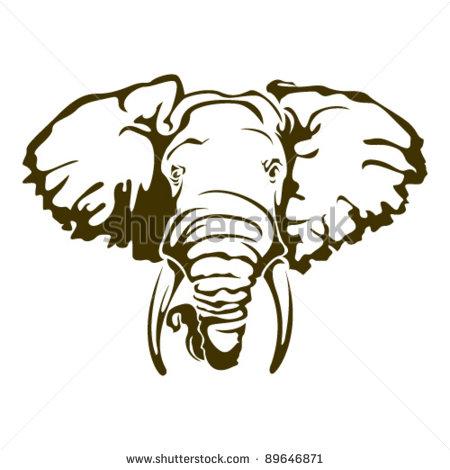 Simple elephant head tattoo - photo#25