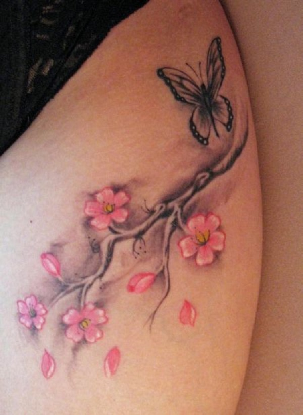 55 latest cherry blossom tattoos ideas. Black Bedroom Furniture Sets. Home Design Ideas