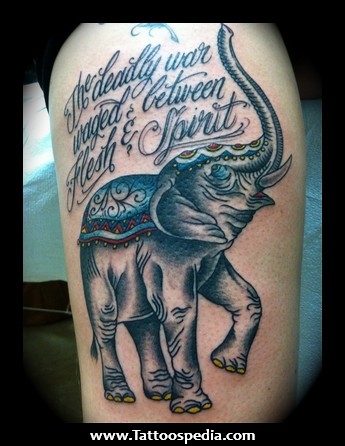 45 elephant tattoos for thigh for Japanese war tattoos