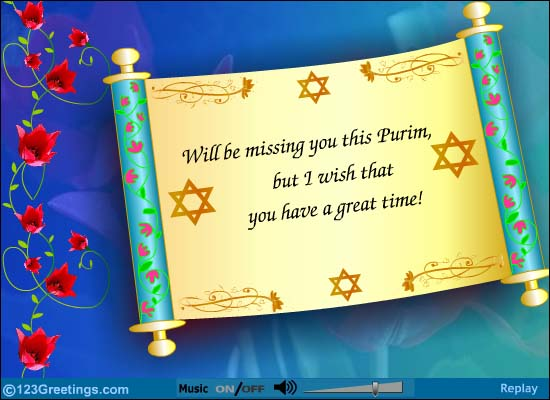 40 beautiful purim festival greeting pictures will be missing you this purim but i wish that you have a great time greeting card m4hsunfo
