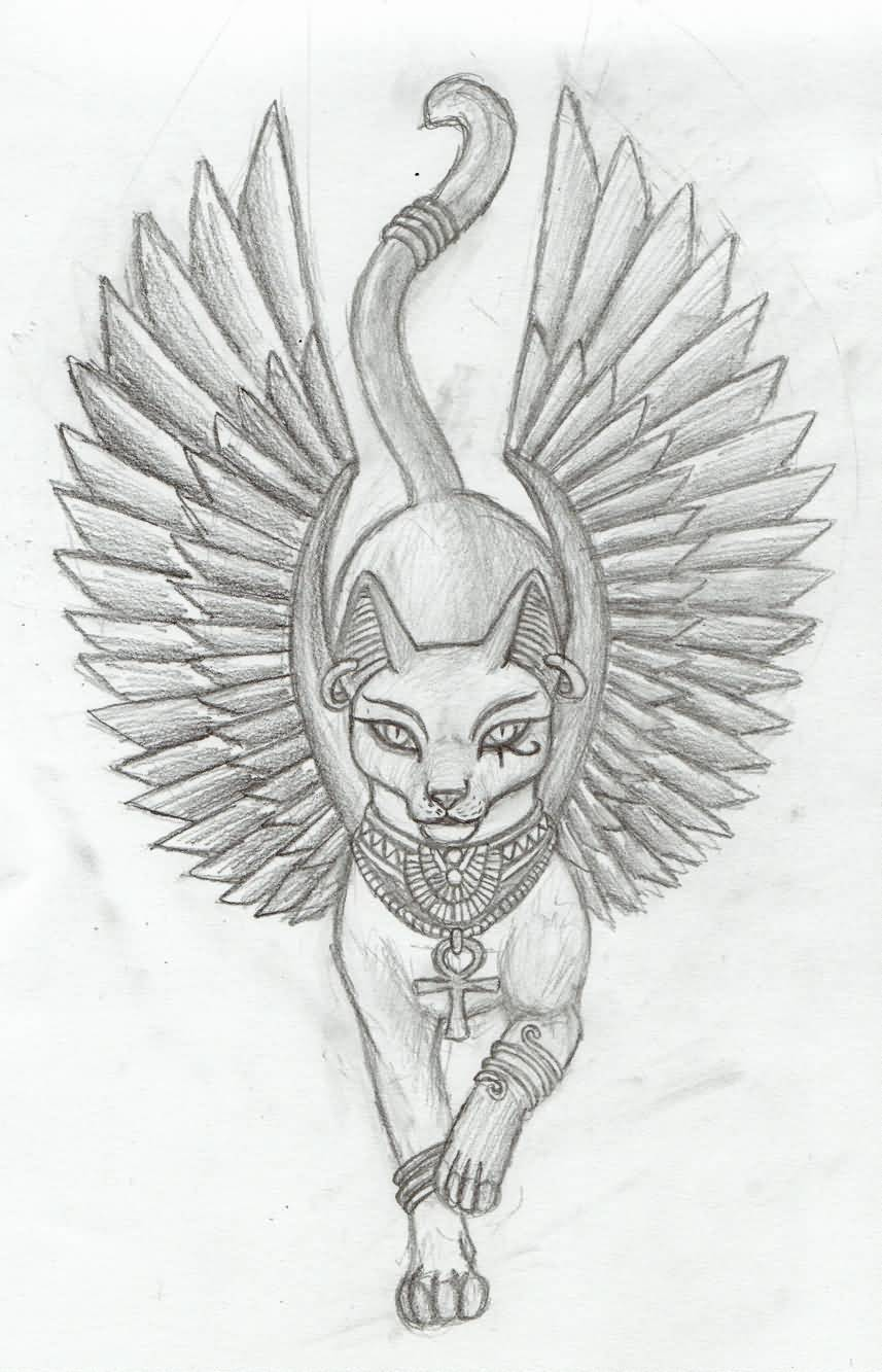 32+ Egyptian Cat Tattoos Ideas