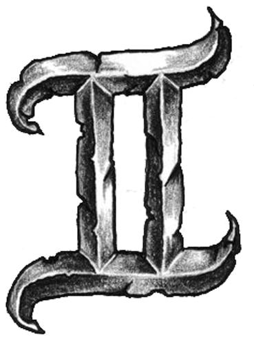 2a1684945 Amazing Black Ink Gemini Zodiac Sign Tattoo Design