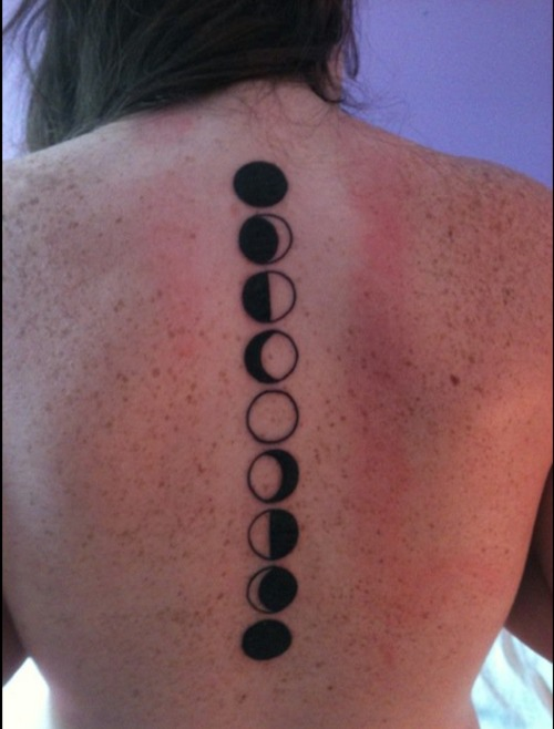 35 phases of the moon tattoos on back for Moon phase tattoo