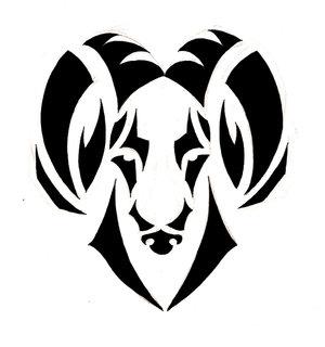 2e27e258adb27 Amazing Black Tribal Aries Zodiac Sign Tattoo Stencil By Aulio Giron