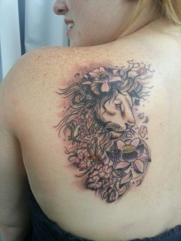b6675da8d Amazing Leo Zodiac Sign With Flowers Tattoo On Girl Left Back Shoulder