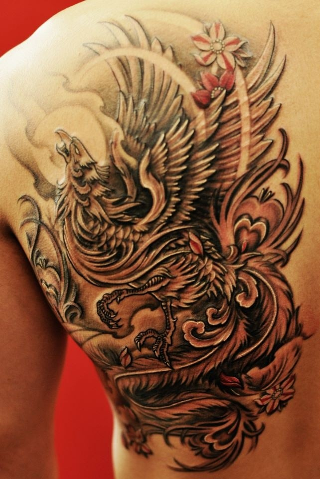 Attractive black ink flying phoenix tattoo on right back for Tattoo supply phoenix