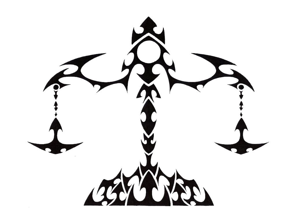 Sign tattoo designs - Attractive Black Tribal Libra Zodiac Sign Tattoo Stencil