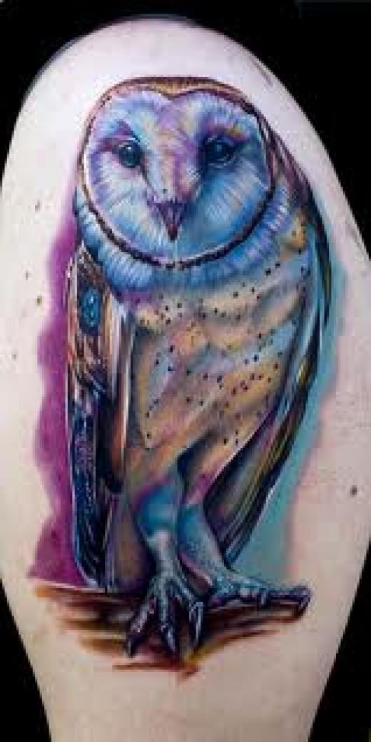 30 wonderful colorful owl tattoos ideas. Black Bedroom Furniture Sets. Home Design Ideas
