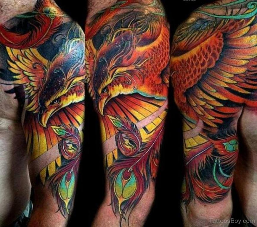 Attractive Colorful Phoenix Tattoo On Left Half Sleeve