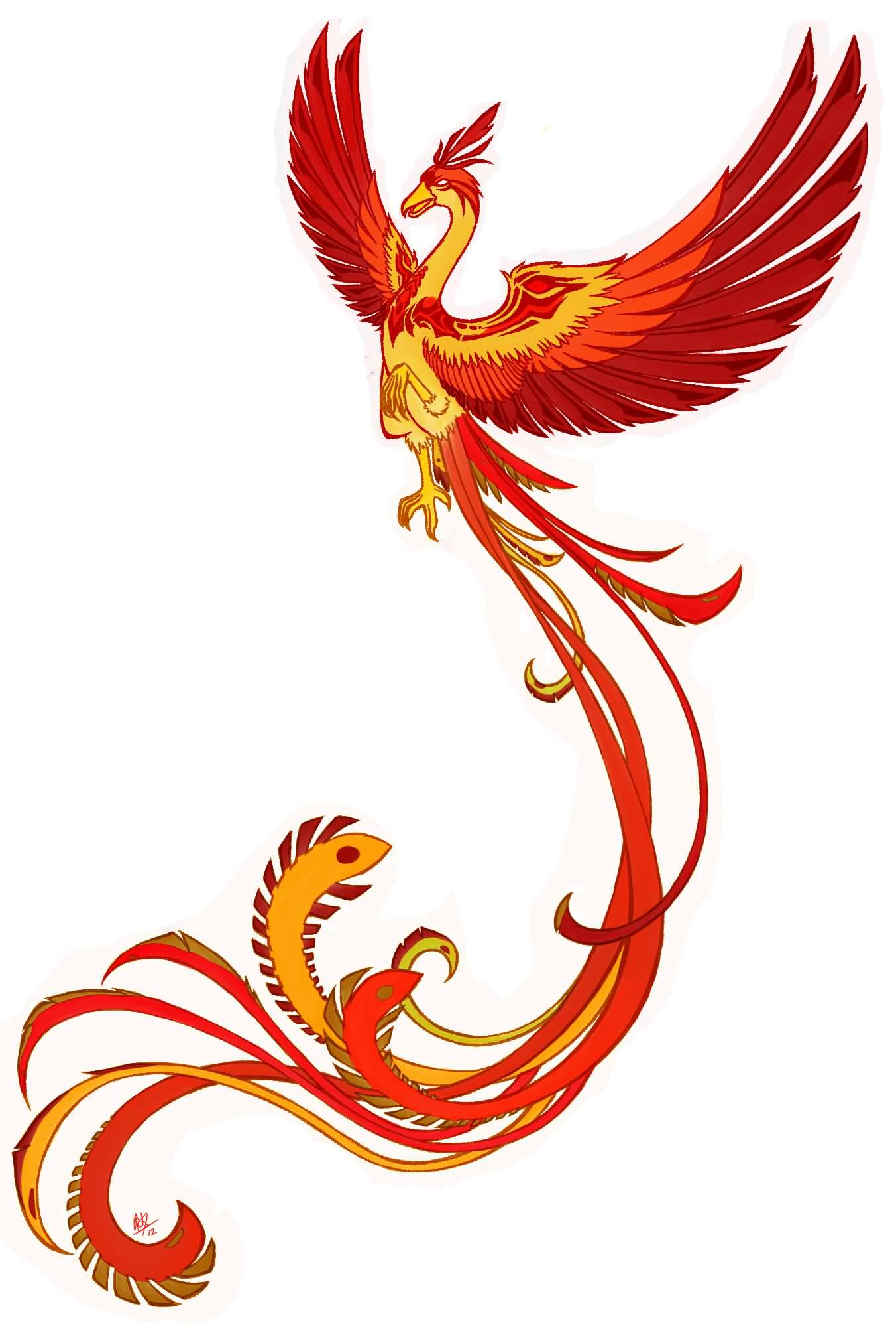 Colorful phoenix tattoo designs - Attractive Flying Phoenix Tattoo Design By Scuro Acheson