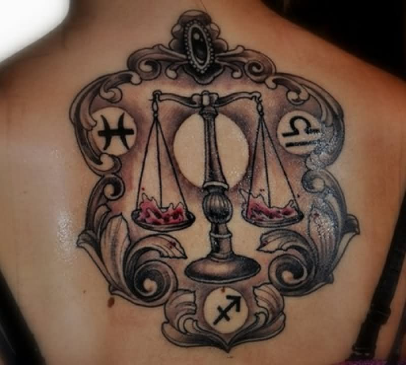 51 libra zodiac sign tattoo designs and ideas. Black Bedroom Furniture Sets. Home Design Ideas