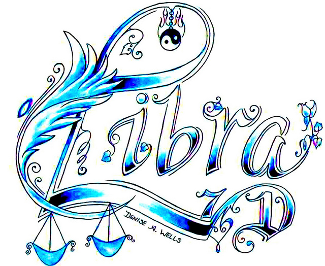 Attractive Libra Zodiac Sign Tattoo Design By Allie Dran