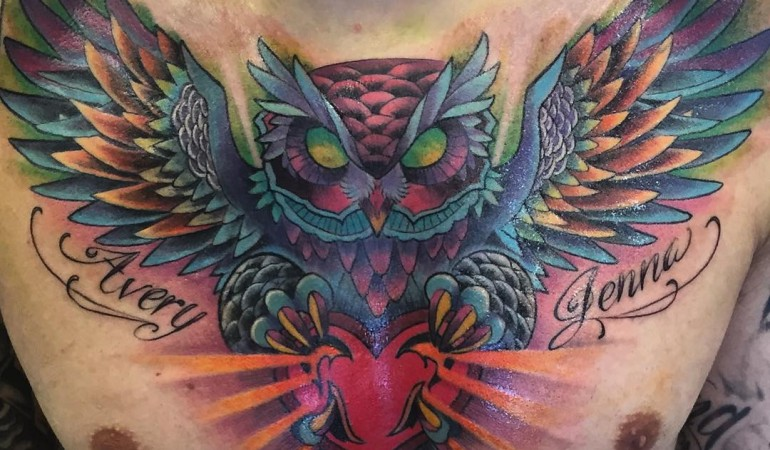 50+ Awesome Owl Tattoos On Chest