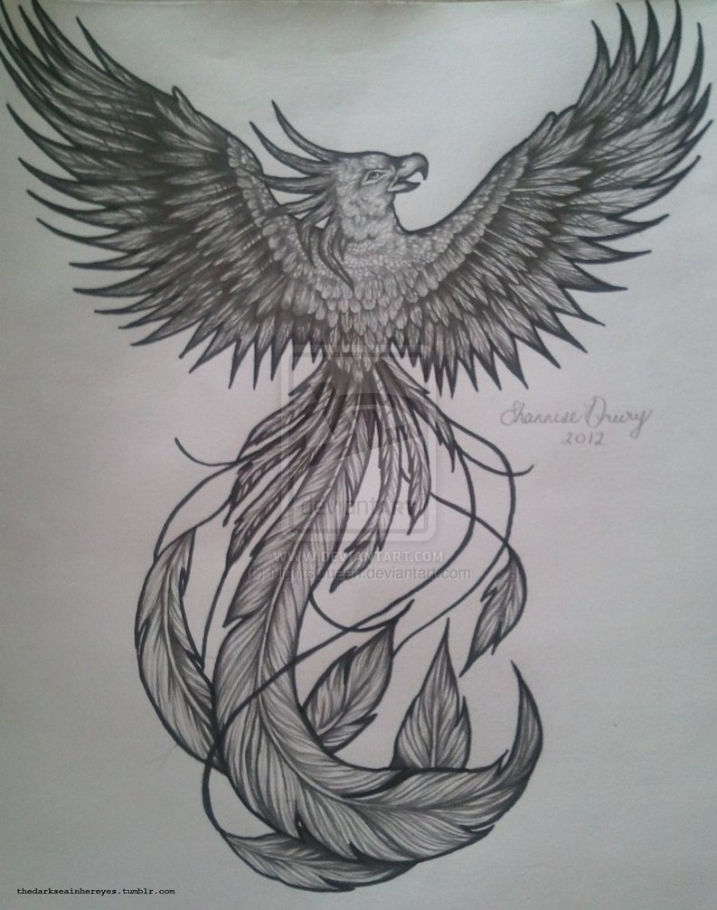 d6d0e6e5b Awesome Black And Grey Flying Phoenix Tattoo Design By NightsQueen