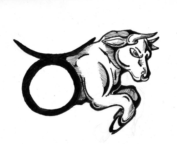 ead09a880 Awesome Black Ink Taurus Zodiac Sign Tattoo Design