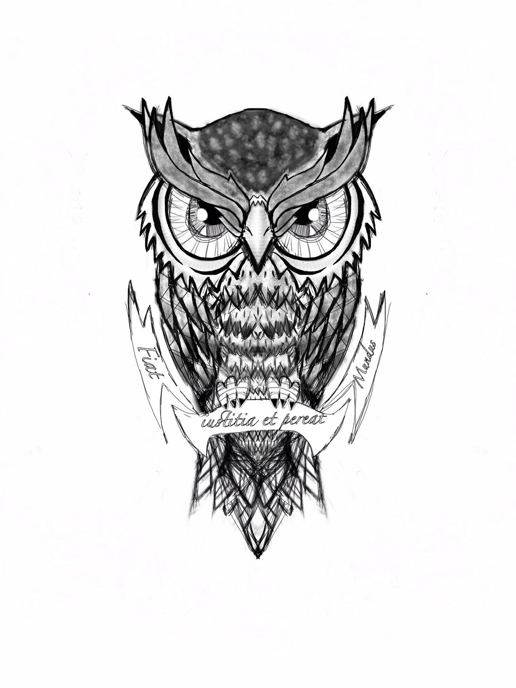 black and grey owl tattoo on man neck