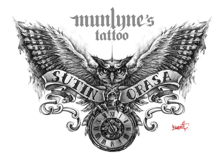 Black And Grey Owl With Pocket Watch And Banner Tattoo Design By Munlyne