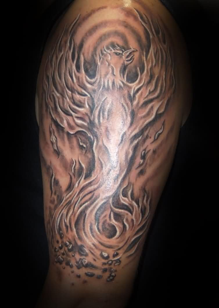 36 phoenix tattoos on sleeve for Black and grey tattoo designs