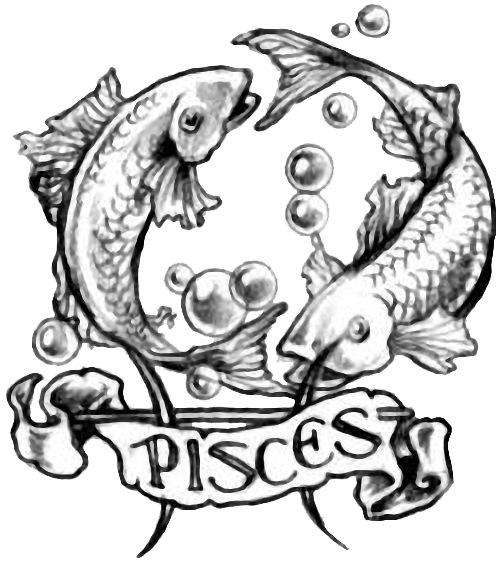 Black And Grey Pisces Zodiac Sign With Banner Tattoo Design