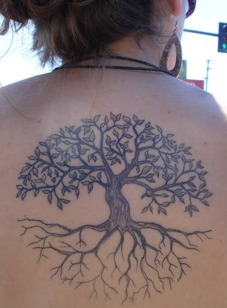 Tree Of Life Tattoo With Heart Roots: Cool Black Tree Of Life Tattoo On Right Leg Calf By SHavYpus